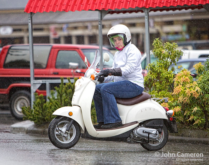 saltspring scooter in the rain