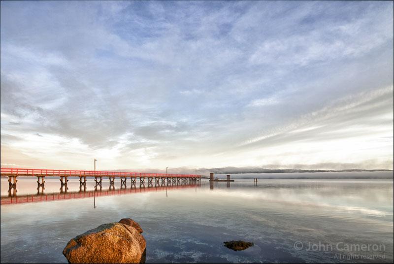 Fernwood dock at sunrise with fog bank