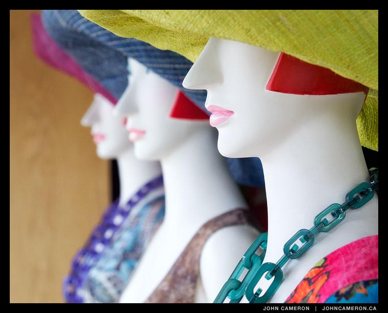Mannequins in a salt spring store window