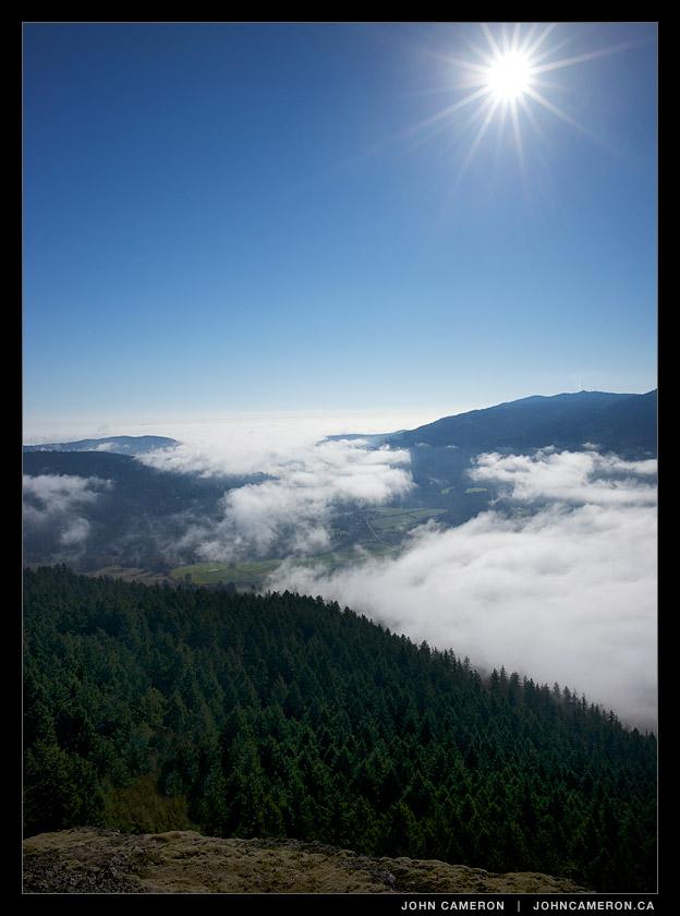 fog rolls into the Fulford Valley, Salt Spring Island