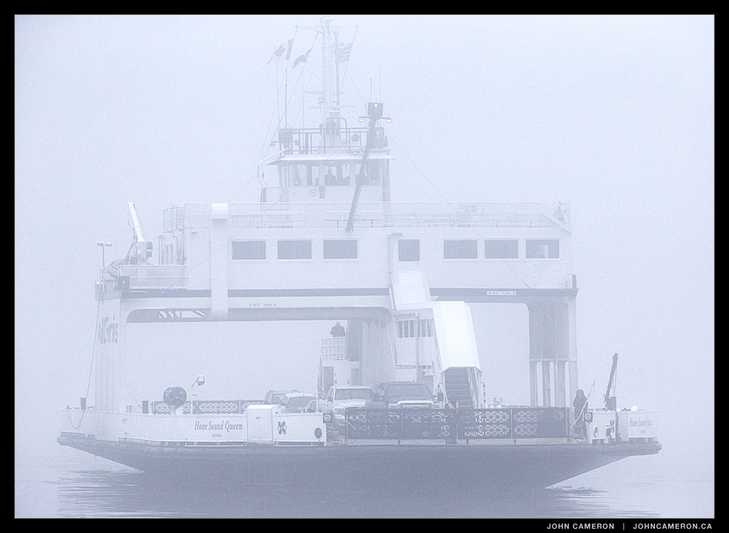 Howe Sound Queen approaching Vesuvius in Fog