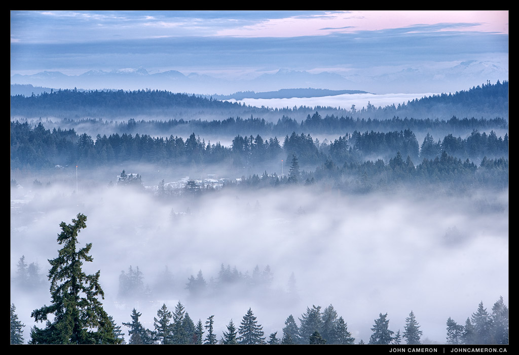 Foggy View over Salt Spring toward the Coastal Mountains