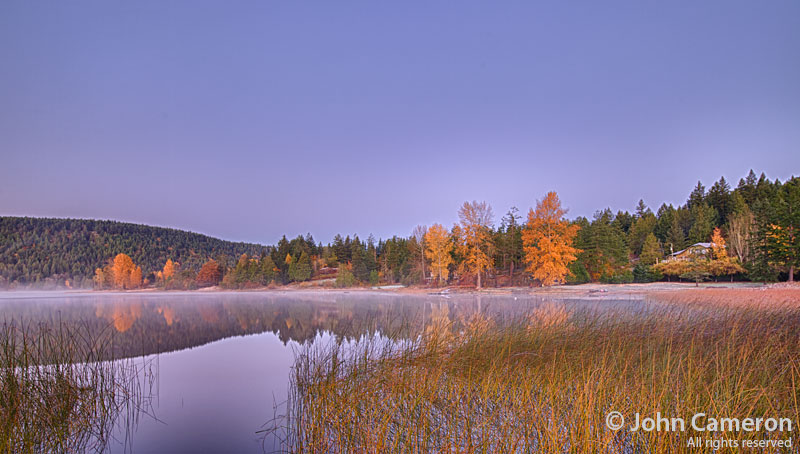 Mist on St. Mary lake on a fall morning