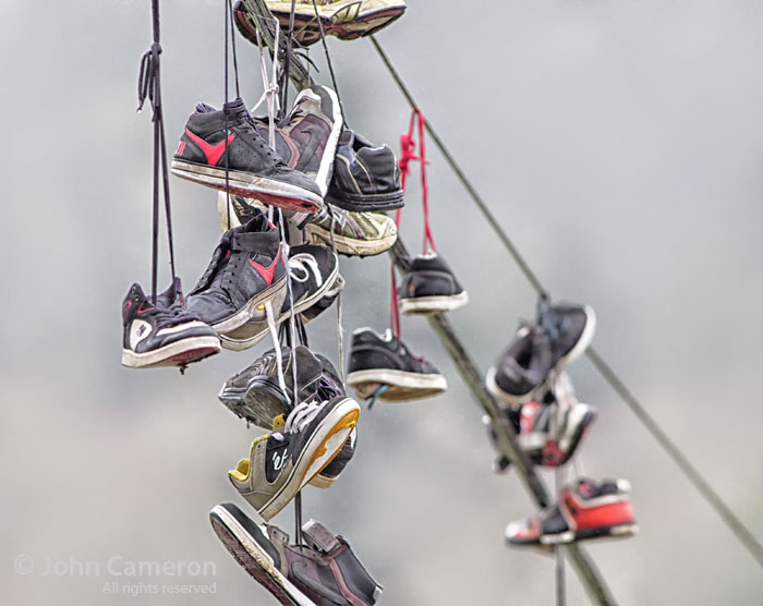sneakers on the wires