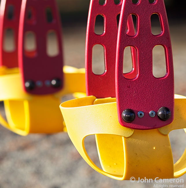 colourful swings in the sunshine