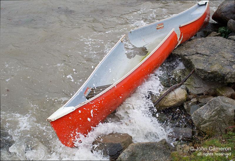 Canoe in wind