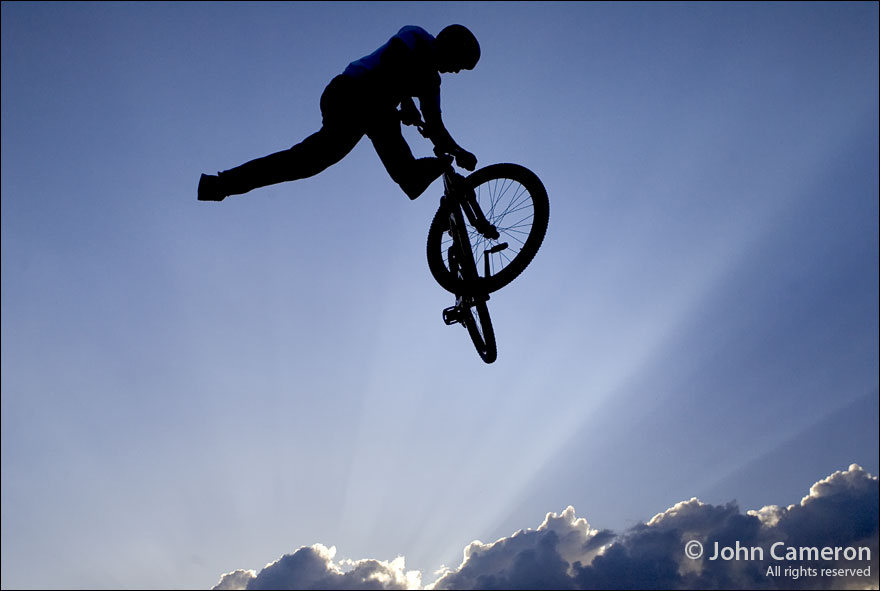 High jump at Crankworx after the sun is gone