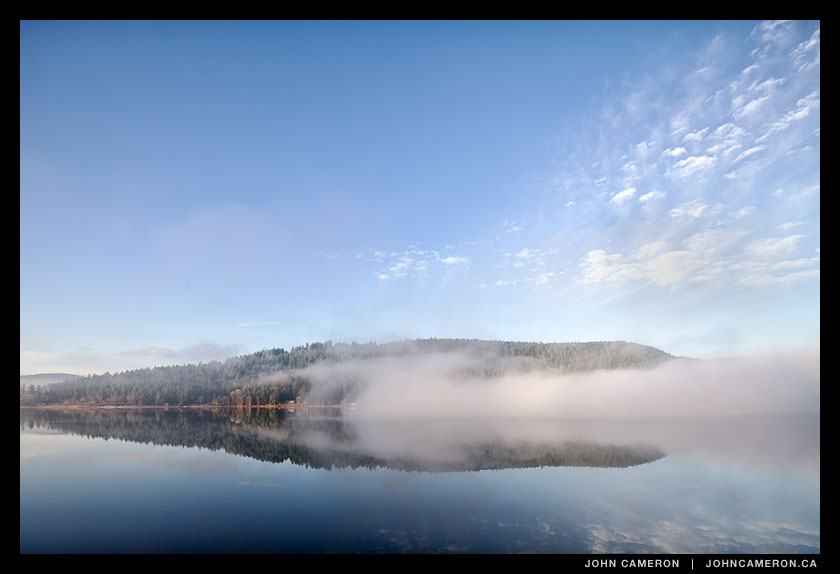 fog gives way to sunshine on St. Mary Lake