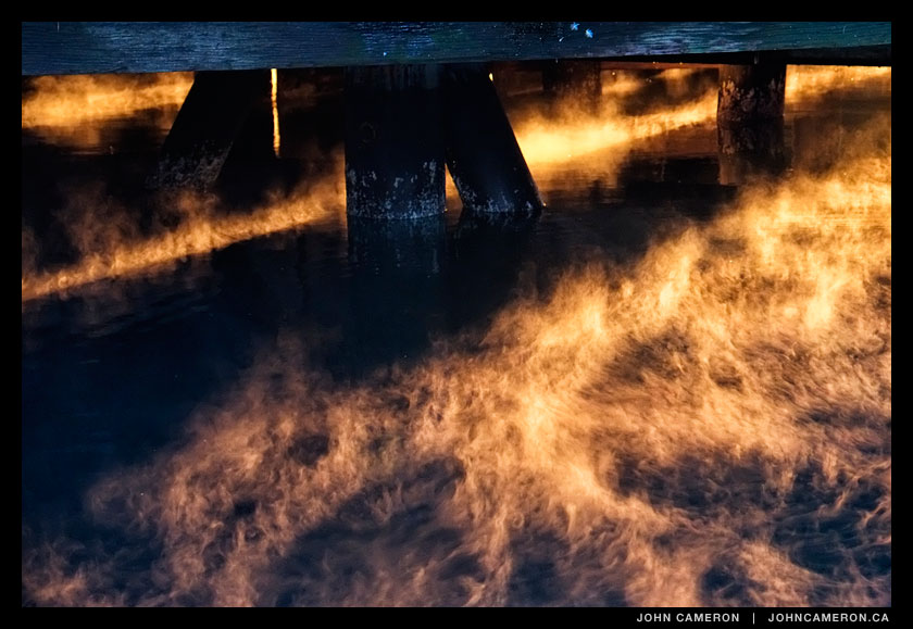 Fire under the dock