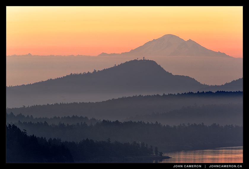 A morning view from the Gulf Islands to Mount Baker