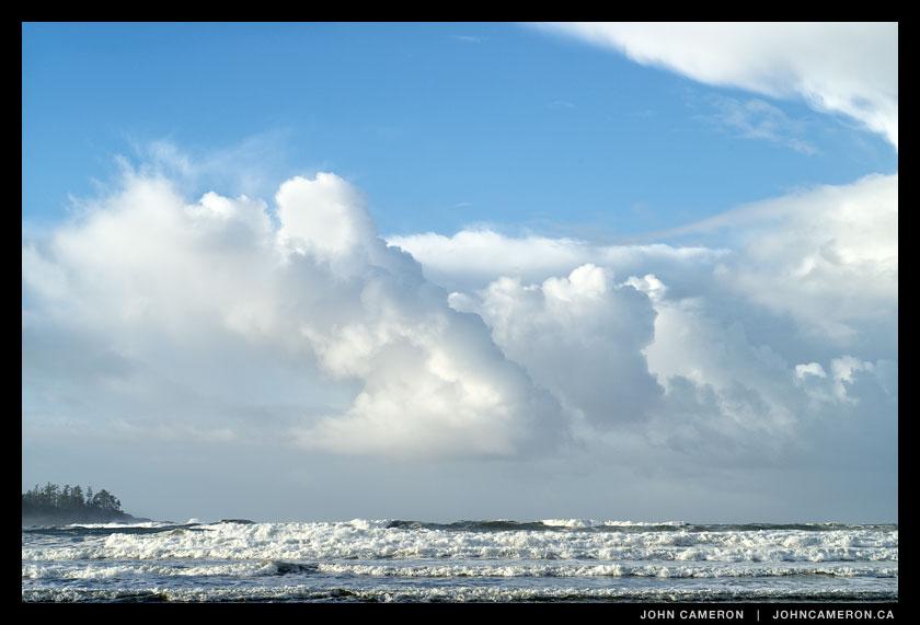 storm builds on tofino coastline
