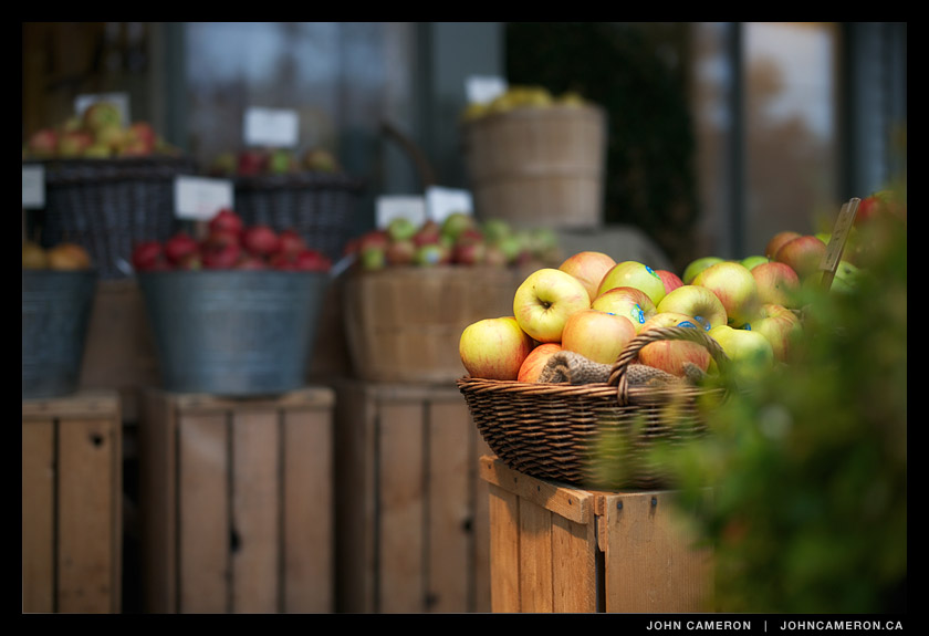 Apples outside the Health Food Store