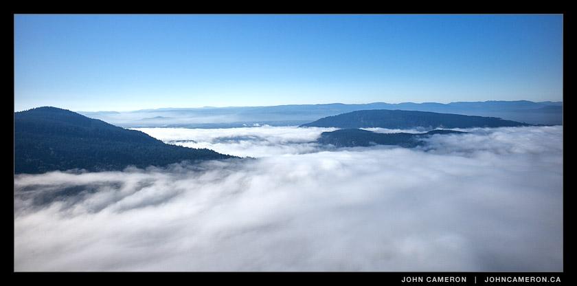 Thick fog swirls into Sansum Narrows