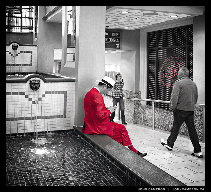 Red Suit at the Mall