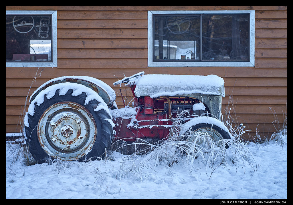 Tractor in the Snow on Salt Spring
