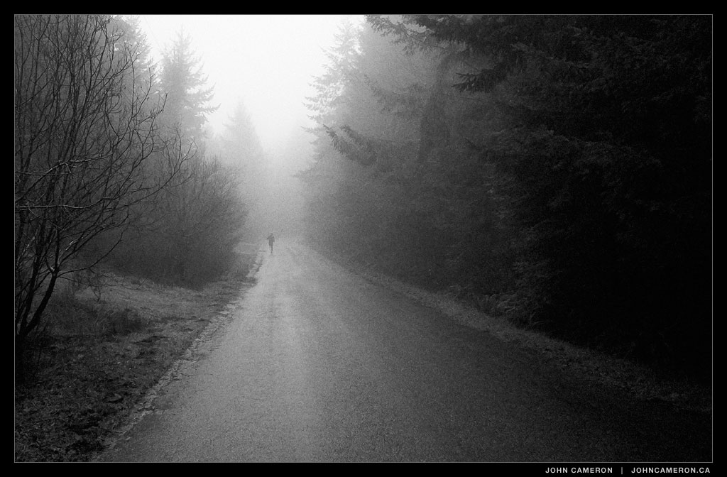 Running in the fog on Salt Spring Island, BC